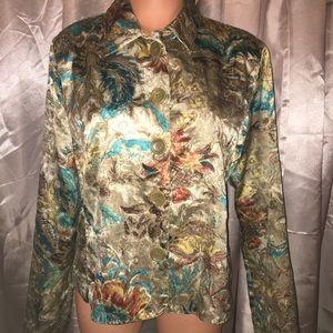 Silky Golden Chico's Travelers Kimono Jacket Top 1